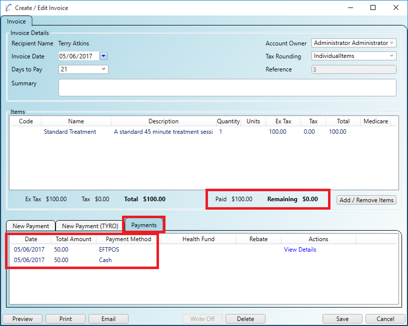 Split the invoice between multiple payment methods - payments