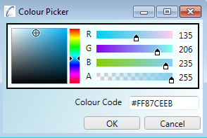 The colour picker lets you pick colours or modify RGB values and also just to type/paste in a colour code of your choice