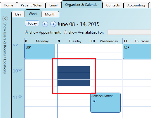 Create a new patient booking from the calendar