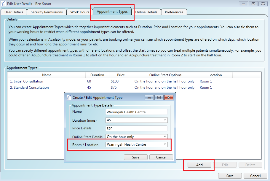 You can allow online bookings for multiple practice locations for the same practitioner through 'Appointment Types'