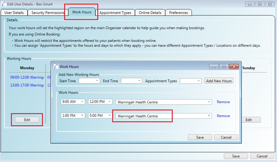 You can assign different appointment types, and therefore locations, to your working hours