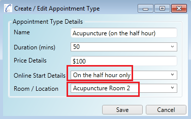 Appointment type set for Acupuncture Room 2 which has a start time setting of On The Half Hour