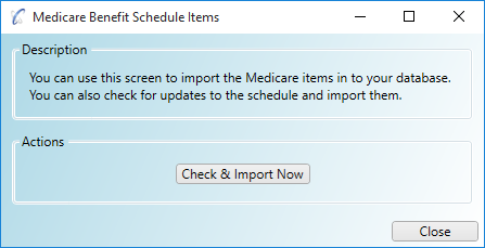 Importing/updating the Medicare Benefits Schedule (MBS) Items