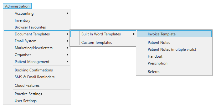 Locating the accounting Word print templates