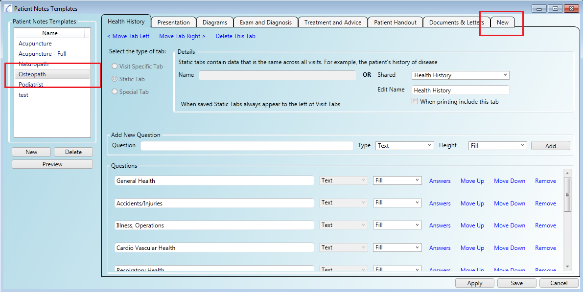 You can show the online patient intake form results on any of your patient notes templates