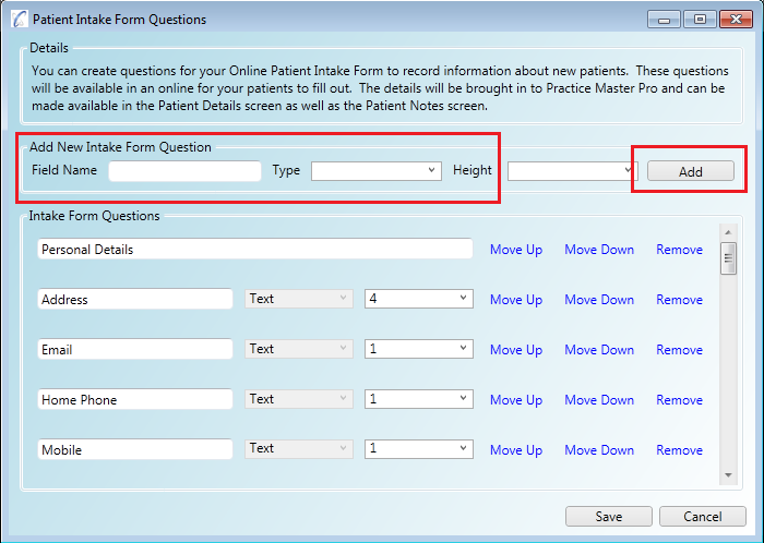 Adding questions to on your online patient intake form