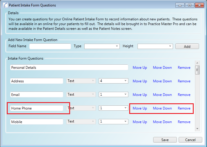 Editing questions on your online patient intake form