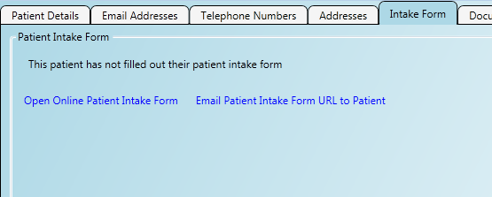 A completed patient intake form downloaded in to the application