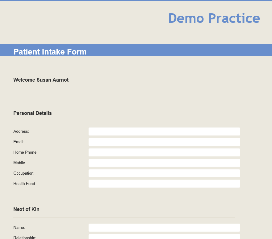 The online patient intake form ready for the patient to fill out