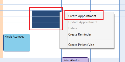 You can select an area on the calendar for the start and end dates then right click to create a new appointment