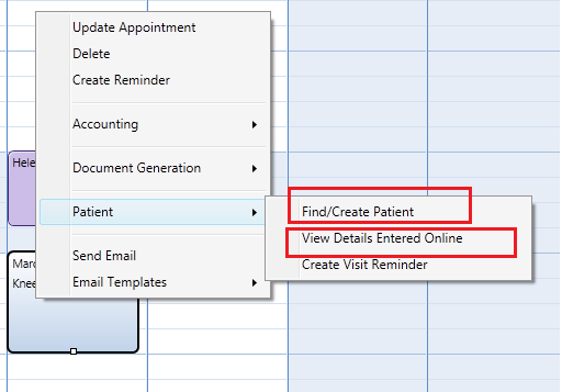 When the patient cannot be found or is new you can right click the appointment to find or create the patient