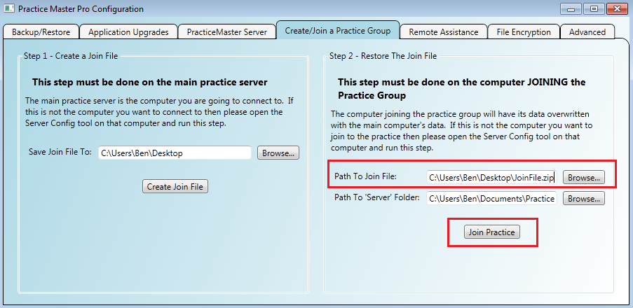 Creating a Practice Group for automatic synchronisation of data