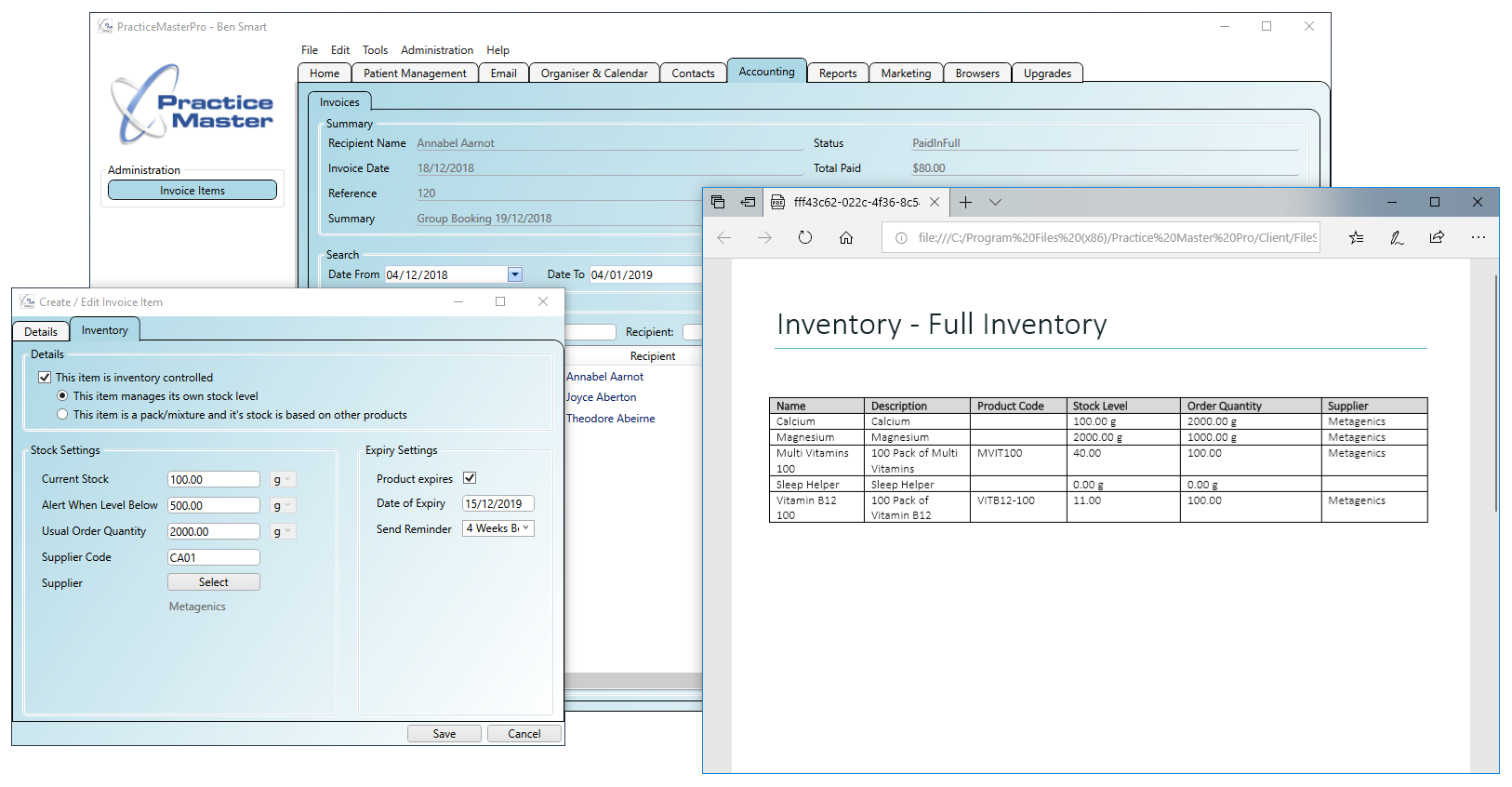 Inventory with stock level alerts and expiration alerts