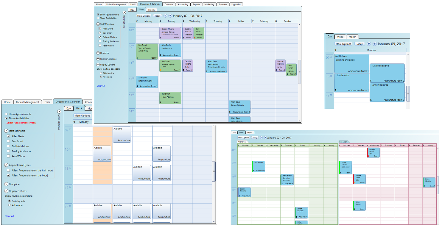 Different calendar views in the software in use by users at the practice with various roles